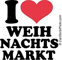 jag, kärlek, jul, marknaden