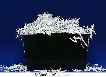 jag shredded tidning, i boxas
