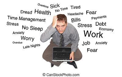 jag stressade ute, laptop, man