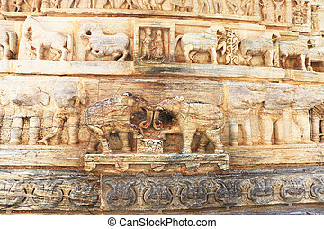 Jagdish temple udaipur rajasthan india - carvings on one of...