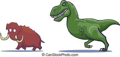 jagen, hand, vektor, gezeichnet, tyrannosaur, karikatur, mammoth.