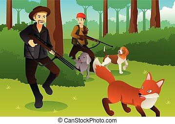 jagers, zijn, vos, honden, jacht