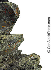 Jagged mountain rocky stones on white background