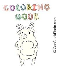 jagnię, sprytny, kolorowanie, prosty, litera, ilustracja, style., książka, wektor, rysunek, kontur