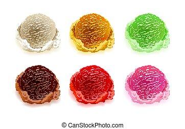 jagody, różny, komplet, kolor, szufelki, orzechy laskowe, odizolowany, lód, ozdoba, smaki, wektor, tło, owoce, biały, śmietanka