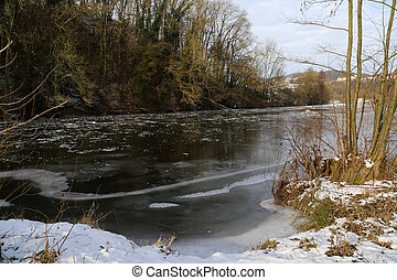 Jagst (Germany) in the winter
