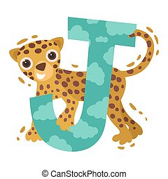 Jaguar and the letter J. Vector illustration on a white background.