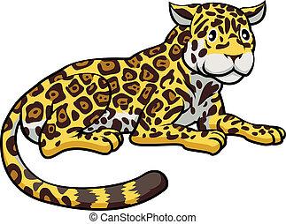 jaguar, caricatura, gato