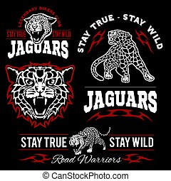 Jaguar custom motors club t-shirt vector logo on dark background. Wild animals - vector set.