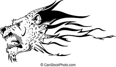 Jaguar head flame