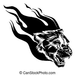 Jaguar head with Flame Tattoo vector illustration