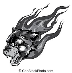 Jaguar head with Flame Tattoo vector monochromatic illustration