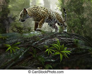 jaguar on the prowl, 3d CG - 3d CG graphics of a jaguar on...