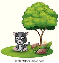jaguar, sittande, träd, bakgrund, under, baby, vit, tecknad film