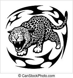 Jaguar Tribal Tattoo isolated on white. Vector illustration.