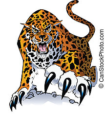 jaguar - An illustration of a stalking, growling jaguar,...