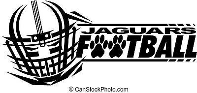 jaguars football team design with helmet and paw print for school, college or league