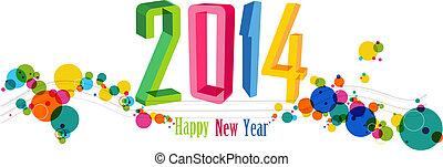 jahr, abbildung, vektor, neu , 2014, banner, glücklich