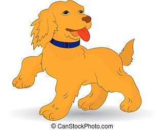 jahr, dog-symbol, hintergrund, orange, weißes, karikatur