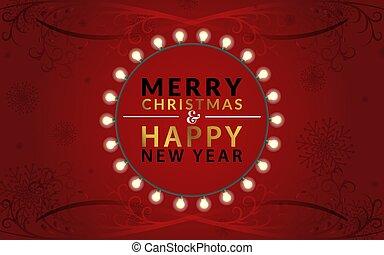 jahr, entlang, hintergrund., gradient., schöne , ränder, text, fröhlich, girlande, ungefähr, neu , rotes , goldenes, abbildung, glücklich, birnen, swirls., weihnachten