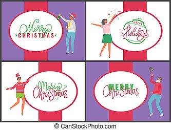jahr, fröhlich, jingle, neu , glückliches weihnachten, glocken