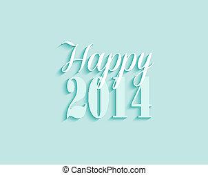 jahr, gruß, vektor, hintergrund, neu , 2014, karte, glücklich