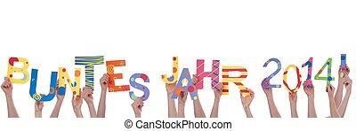 jahr, mains, buntes, tenue, beaucoup, 2014