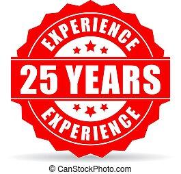 jahre, 25, vektor, erfahrung, ikone