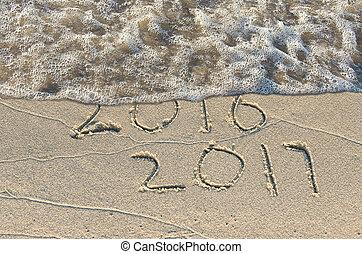jahreswechsel, 2017, auf, sandstrand