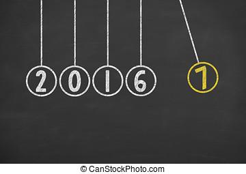 jahreswechsel, 2017, energie, begriffe, auf, tafel, hintergrund