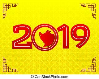 jahreswechsel, 2019, glücklich, schwein