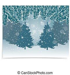 jahreswechsel, card., blaues, realistisch, tannenzweige, mit, schnee, in, der, kalte , winter, wald, in, der, hintergrund., weihnachten, abbildung