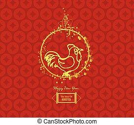 jahreswechsel, design, chinesisches , hahn