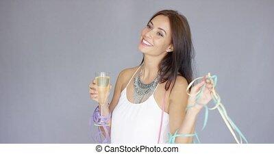 jahreswechsel, junge frau, partying, reizend, fröhlich