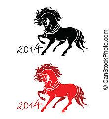 jahreswechsel, von, pferd