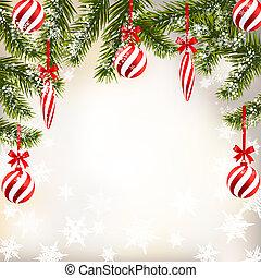 jahreswechsel, weihnachten., grüßen karte, mit, gestreift, kugeln, und, candles., grün, zweige, von, tannen, in, der, snow., abbildung