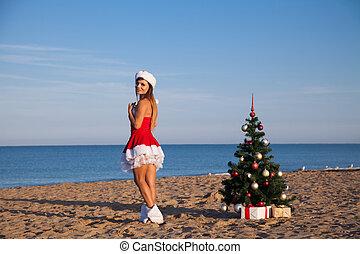 jahreswechsel, weihnachtsbaum, strand zuflucht, meer, m�dchen