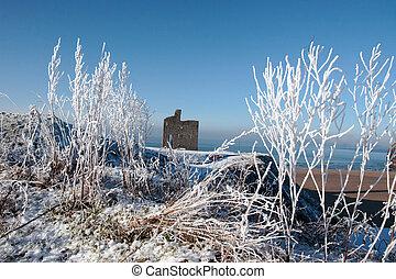 jahreszeit, schnee, ballybunion, castle strand, weihnachten...