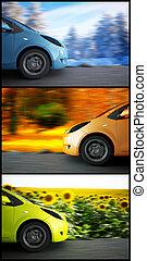 jahreszeiten, auto, hoch, hintergrund, geschwindigkeit, landschaftsbild