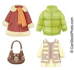 jahreszeiten, kleiden, satz, mantel, gepolstert, girls.,...