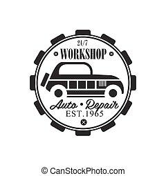 jahrgangsauto, reparatur, werkstatt, schwarz weiß, etikett, design, schablone