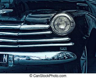 jahrgangsauto, vorderansicht, detail