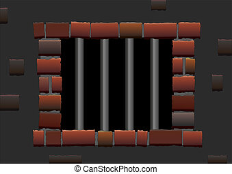 Jail Bars - Barred window of a jail. Isolated vector.