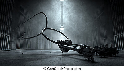 A concept image of an eerie corridor at night showing jail cells dimly illuminated by various lights and a bunch of cell keys laying ominously on the floor being hooked by a bent wire coming from the cells