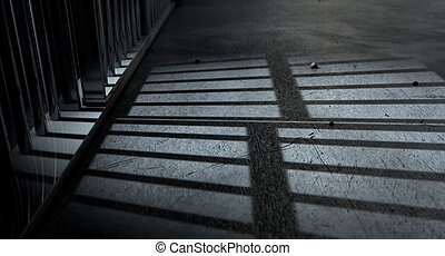 Jail Cell Bars Cast Shadows - A closeup of view of a jail...