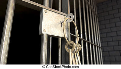 Jail Cell With Open Door And Bunch Of Keys - A closeup of...