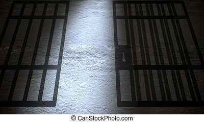Jail cells shadows on the prison floor.