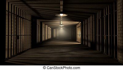 A corridor in a prison at night showing jail cells illuminted by various ominous lights