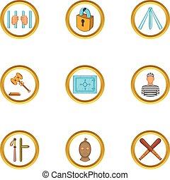 Jail icons set, cartoon style