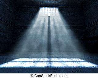 jail indoor - fine 3d image of dark grunge prison